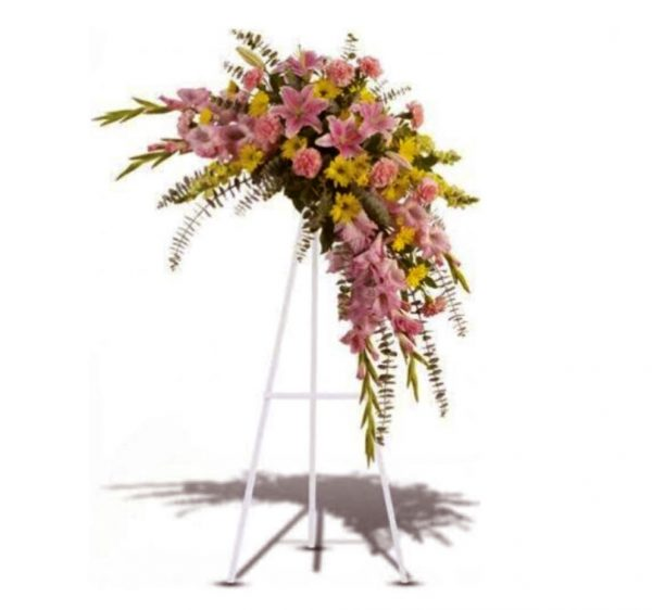 Pink and yellow funeral spray