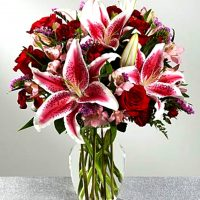 Stargazing Lilies with Red Roses in a Clear Vase
