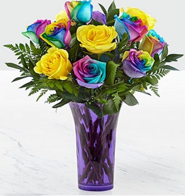 1 dz. Rainbow roses in a colored vase