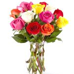 1 dz. colored roses in a vase