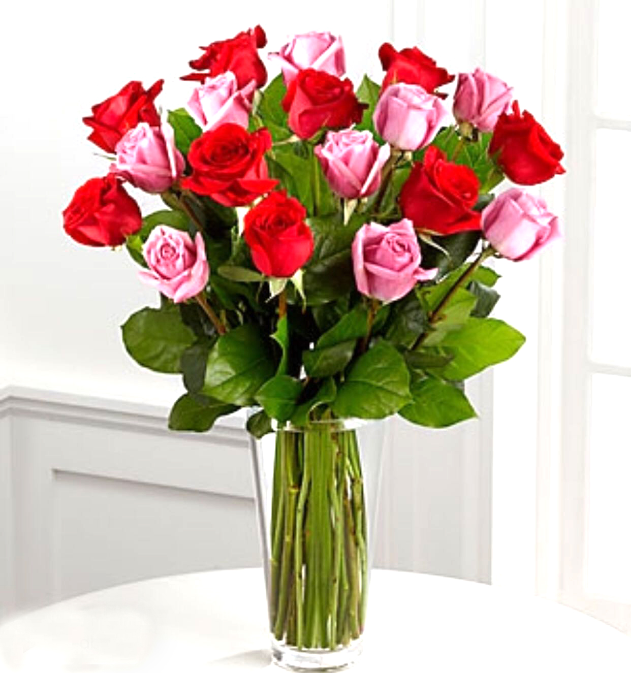 2 dz pink and red rose in a vase sunlight flower shop 2 dz pink and red rose in a vase floridaeventfo Choice Image