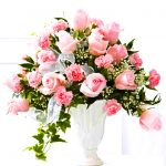 Funeral basket with pink roses and carnation
