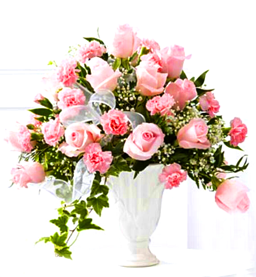 Funeral Basket With Pink Roses And Carnation Sunlight Flower Shop
