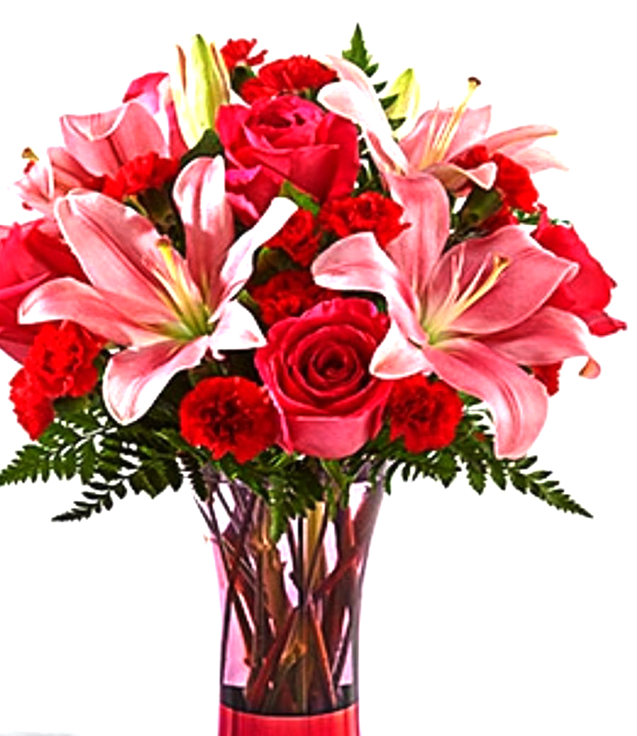 Pink lilies with mixed flowers sunlight flower shop pink lilies with mixed flowers izmirmasajfo