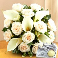 Bq of white rose with white calla lilies