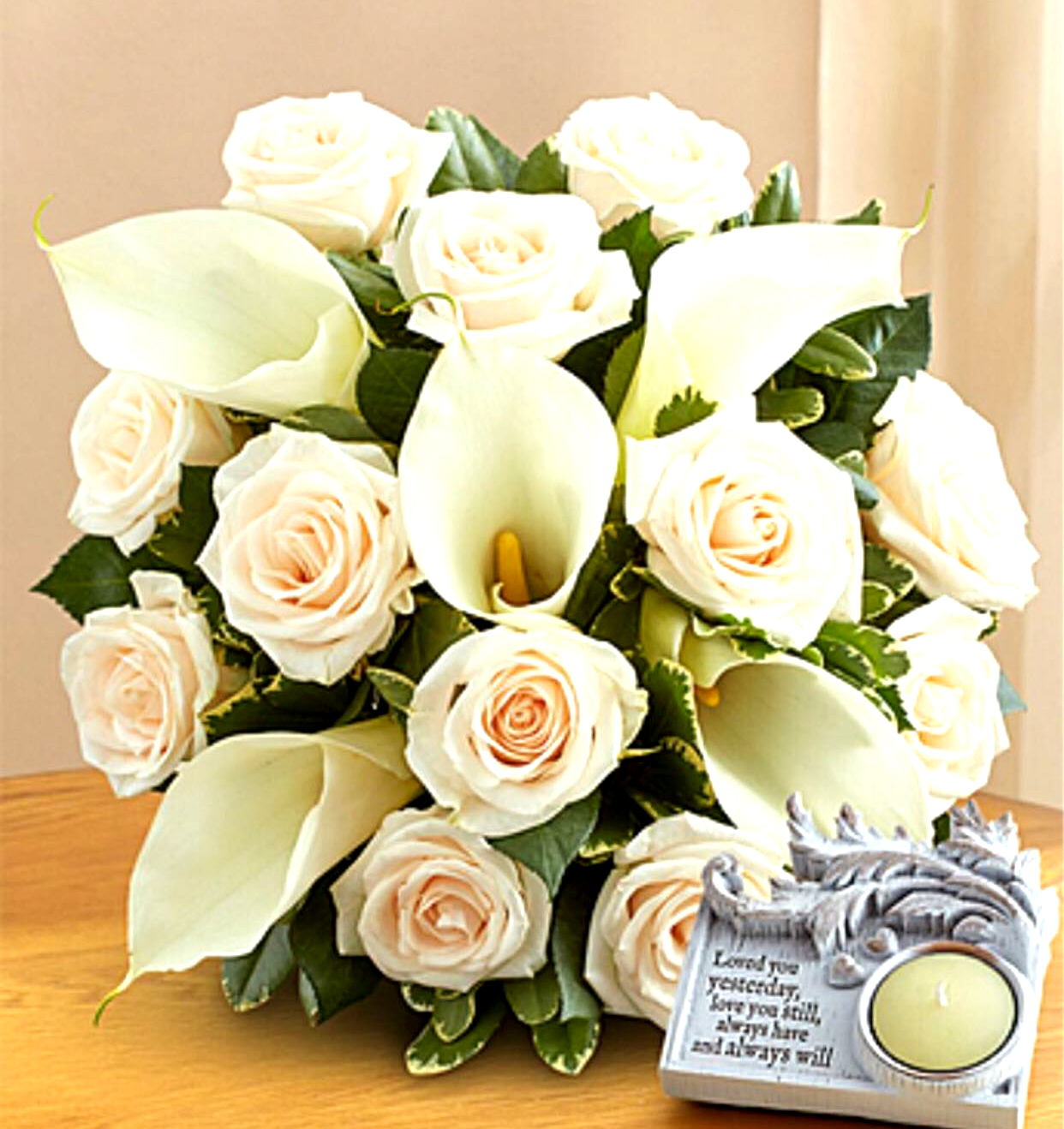 Bouquet of white rose with white calla lilies sunlight flower shop bq of white rose with white calla lilies izmirmasajfo