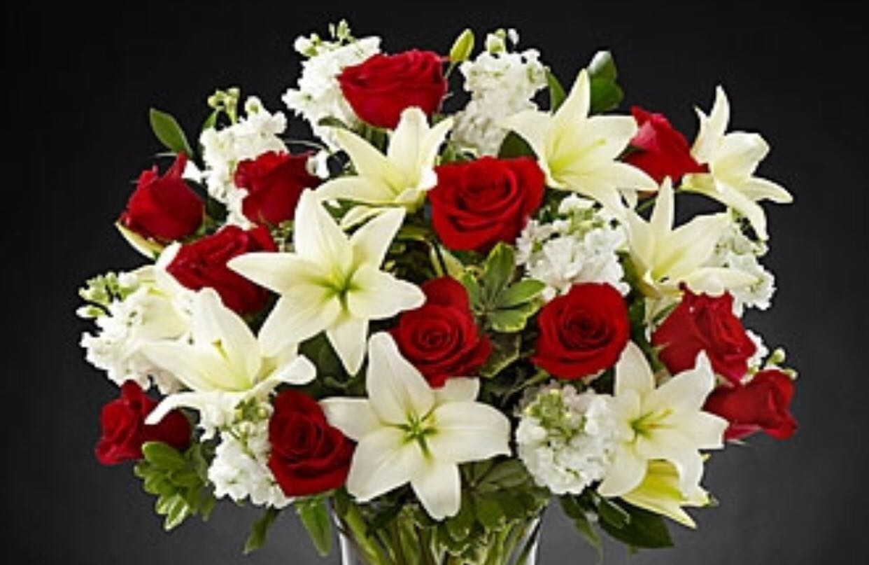 White lilies with red roses and stock sunlight flower shop white lilies with red roses and stock mightylinksfo