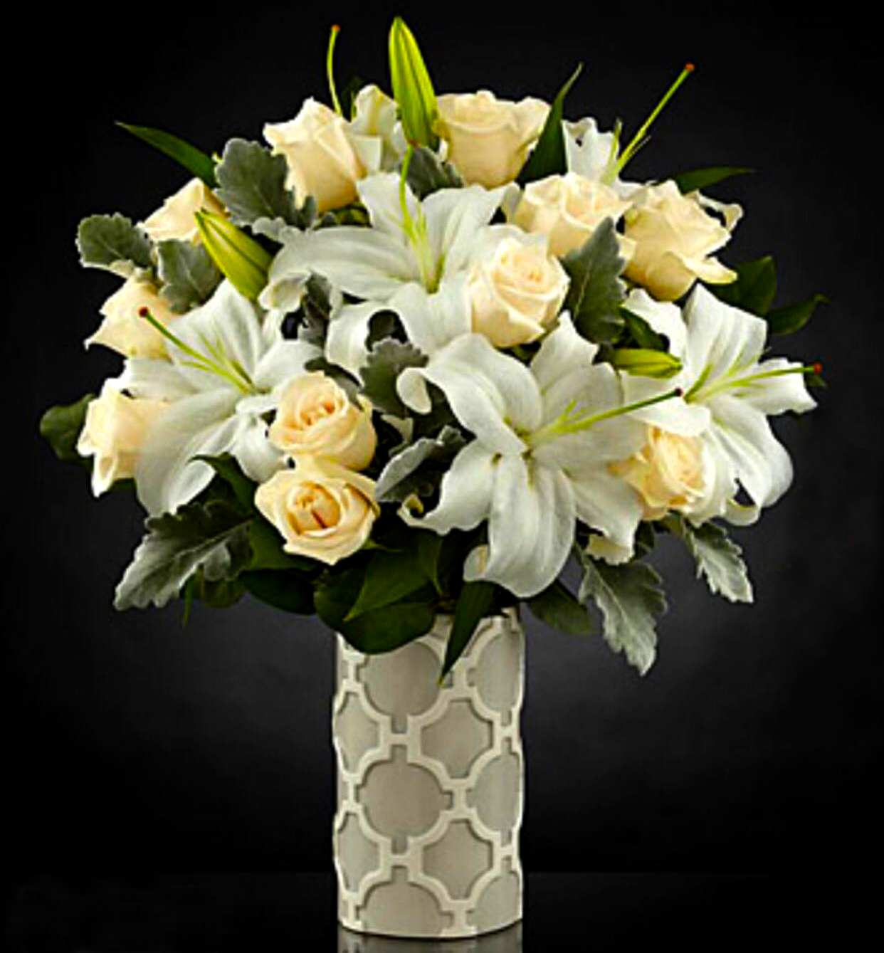 Gorgeous White Roses and White Lilies | Sunlight Flower Shop